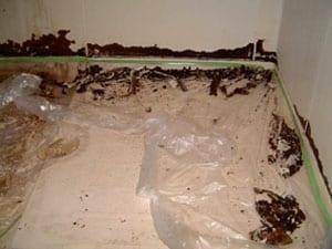 浴室パネル工法のイメージ画像、施工前の傷んだ壁と汚い床の写真